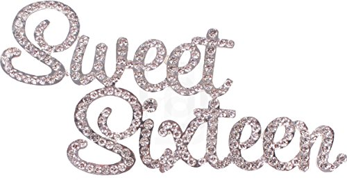 Sweet Sixteen, Birthday Cake Topper, Crystal Rhinestones on Silver Metal, Party Decorations, (Cheap Centerpieces For Sweet 16)
