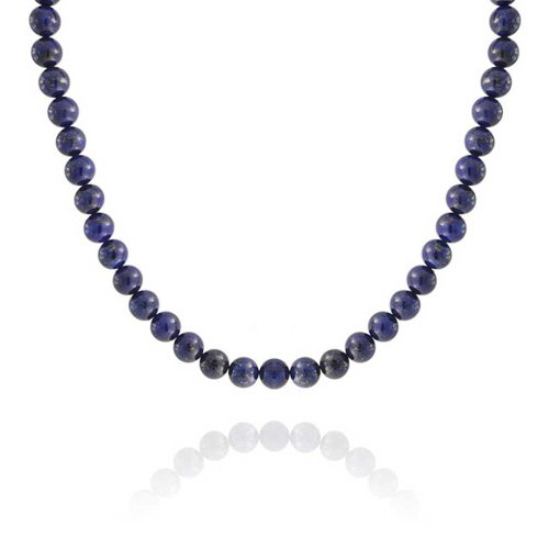 - Bling Jewelry Blue Lapis Lazuli Round 10mm Bead Strand Necklace for Women for Men Silver Plated Clasp 16 Inch