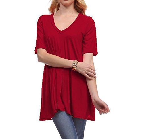 Rukiwa Women's V-Neck Loose Fit Comfy Flattering Tunic Tops T Shirt (L, - Store Guess Uk