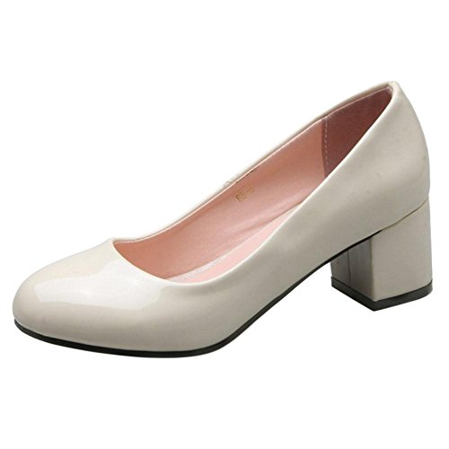 TAOFFEN Women's Block Heel Court Shoes Beige