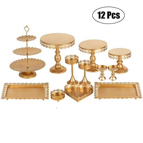 Set of 12 Pieces Golden Cake Stand and Pastry Trays Metal Cupcake Holder Fruits Dessert Display Plate for Baby Shower Wedding Birthday Party Celebration (Fancy Cake Stand)