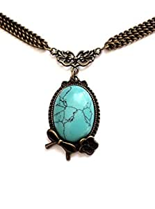I.Love.Vintage Jewelry (London) Vintage Cameo Blue Oval Cabochon Pendant Necklace - Boxed & Gift Wrapped