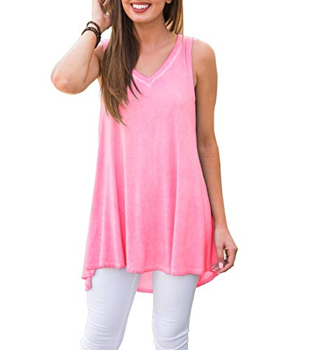 AWULIFFAN Women's V Neck Tank Tops Loose Casual Sleeveless Shirts Blouses (Pink,2XL)