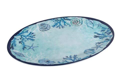 Northeast Home Goods Blue Starfish and Shells Oval Melamine Serving Platter, 18-Inch x 14-Inch