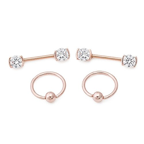 Painful Pleasures 14g PVD Rose Gold Nipple Jewelry Set - Bezel-Set Crystal Jeweled Straight Barbells and Captive Bead Rings