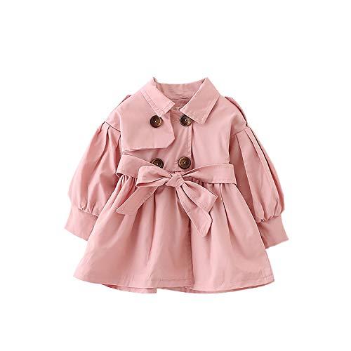 FullGood Toddler Girl Spring Autumn Windbreaker Jacket Trench Coat Pink 2-3 Years