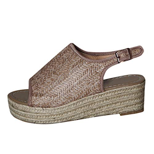YuhooSUN Women's Espadrille Wedge Sandals Braided Jute Ankle Buckle Adjustable Open Toe Summer Cork Flatform Sandals Brown