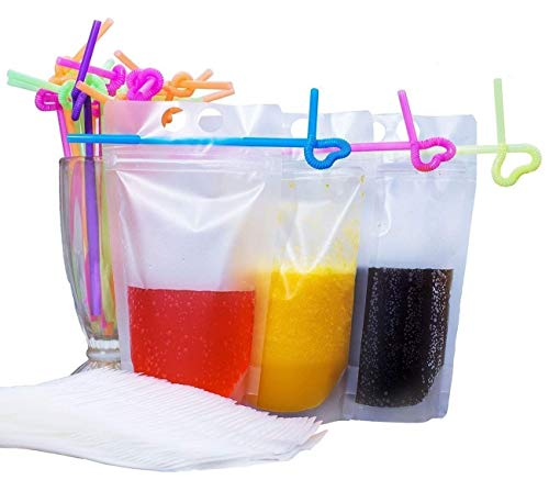 (100 Pack Clear Drink Pouches Bags with Straws - Reclosable Zipper Stand-up Plastic Pouches Bags Drinking Bags - 9.1