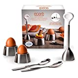 Eparé Egg Cracker Topper Set 2.0 – Soft Hard Boiled Eggs Separator Tool – Include Spoons and Cups - Shell Remover & Cutter - Steel Spoon & Cup Holder – Cooker Accessory