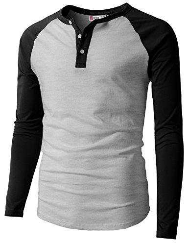 H2H Mens Solid Slim Fit Raglan Baseball Long Sleeve Button Down T-Shirts Black US S/Asia M (CMTTL077)