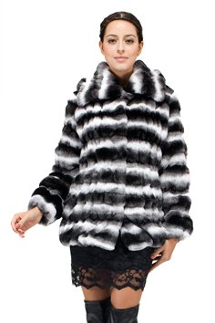 Adelaqueen Women's Lapel Faux Chinchilla Fur Jacket White and Black Size L