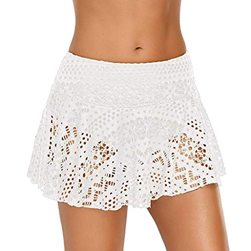 1c138eaa3a JJLIKER Women Lace Crochet Skirted Bikini Bottom Swimsuit Short Skort  Swimdress Hollow Solid Mesh Cover Up