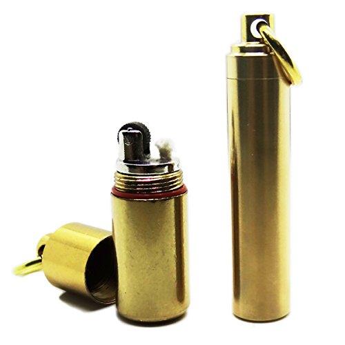 PPFISH Mini Brass Key Chain Lighter Set-Waterproof Fire Starter and Backup Brass Fuel Canister Especially for Survival and Emergency Use