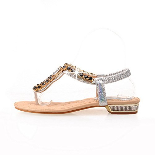 Split AllhqFashion Silver Elastic Toe heels Soft Women's Material Sandals Solid Low tqxqTFpgw