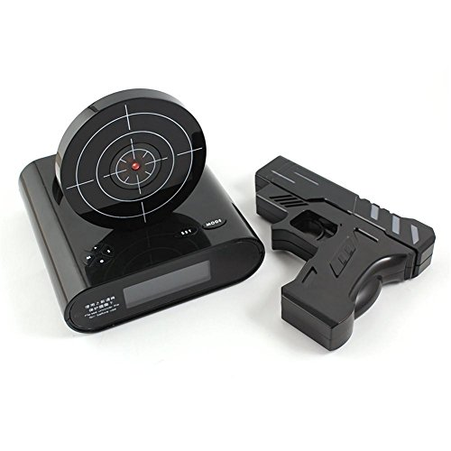 Recordable Gun Alarm Clock, 12hr Time Display, Recordable Voice Function, Two Game Modes and Alarm Modes , black