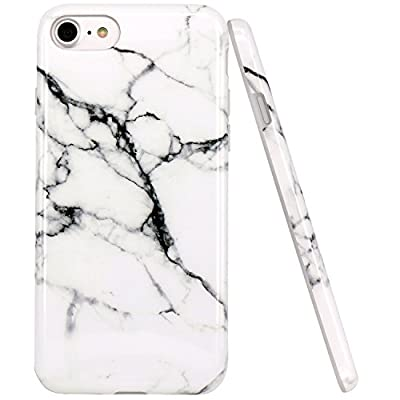 JAHOLAN Watercolor White Marble Design Clear Bumper Glossy TPU Soft Rubber Silicone Cover Phone Case Compatible with iPhone 7 iPhone 8