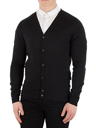 John Smedley Men's Petworth Longsleeved V-Neck Cardigan, Black, XL
