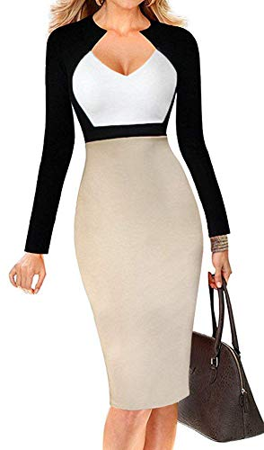 LunaJany Women's Chic V Neck Color-Blocked Wear to Work Sheath Dress, White and Beige L