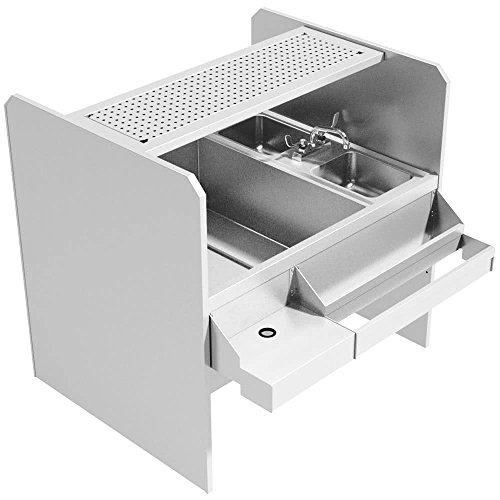 Advance Tabco CR-44X36SP-7-L Stainless Steel Pass-Through Workstation with Perforated Drainboard Shelf (Left Side Ice Bin) (Left Side Ice Bin)