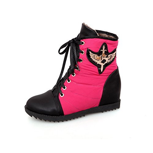 Boots US Toe Closed Peach AmoonyFashion Heels Colors Womens B Assorted Rubber M PU Round with Kitten 4 5 Bandage xUtpft
