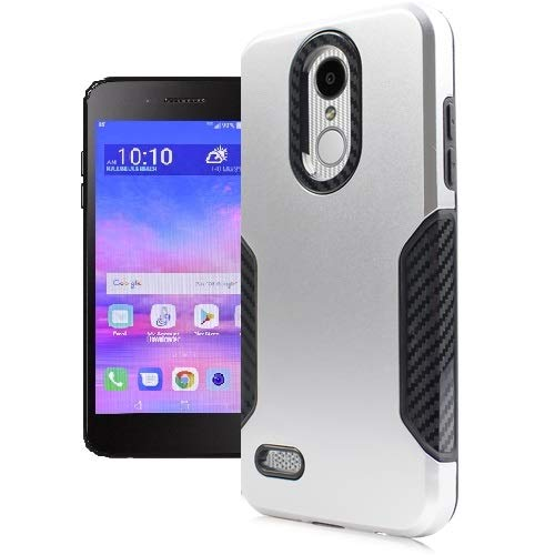 LG Rebel 4 Case, LG (Rebel 4) 4G LTE Case, AT&T Prepaid LG Phoenix 4 Case, Phone Case for Straight Talk LG Rebel 4 Prepaid Smartphone, Dual Layer Hard Cover - Carbon Silver Fiber Design