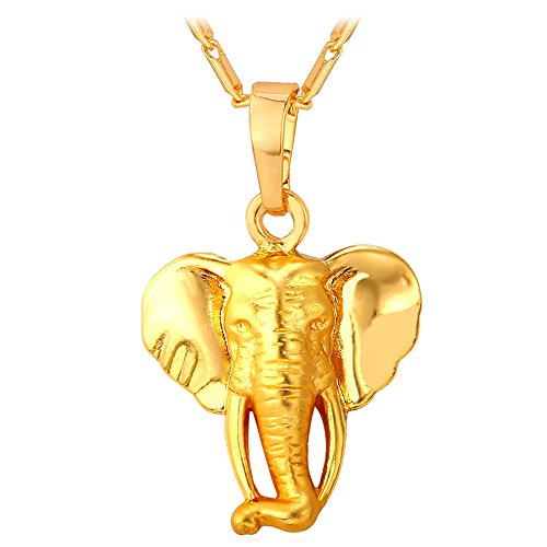 U7 Elephant Delicate Platinum Necklace