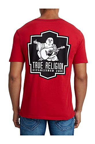 True Religion Mens Black Crest Crew Neck Tee T-Shirt in Red