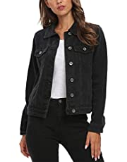 Cantonwalker Trucker Jacket Women Vintage Washed Long Sleeve Classic Jean Jacket D20
