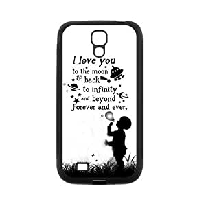 Love Quote I Love You To The Moon And Back Protective Rubber Back Fits Cover Case for SamSung Galaxy S4 hjbrhga1544