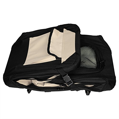 WOLTU Premium Soft Sided Pet Carrier Foldable Pet Travel Crate, Black+Beige, PCS01blkS4-a by WOLTU (Image #4)