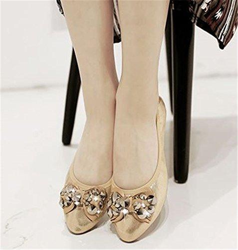 Working Ballet Walking Fold Believed Comfort Dress Flats Shoe Ballerina Daily Womens Gold up gnXznS