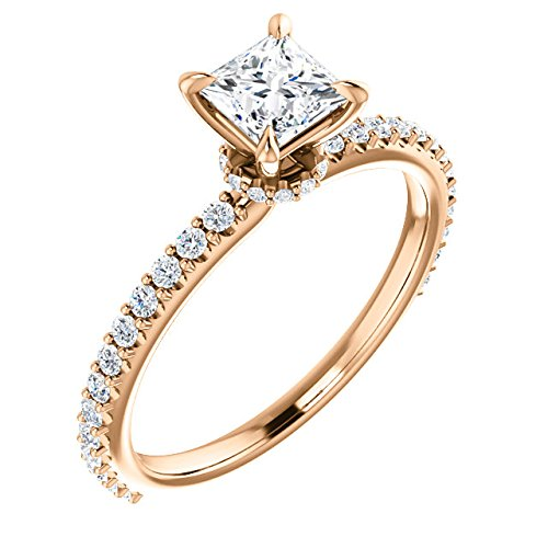 - Petite Shared Prong Princess Cut Engagement Ring 7/8ct TDW