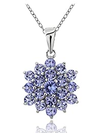 Sterling Silver Tanzanite Flower Cluster Necklace