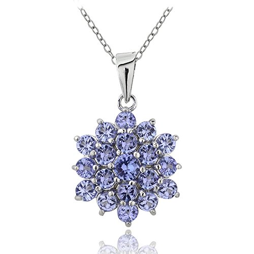 Ice Gems Sterling Silver Tanzanite Flower Cluster ()