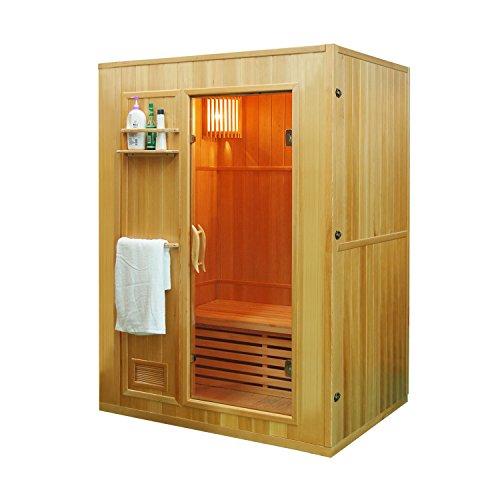 ALEKO SEN3OKA Canadian Hemlock Indoor Wet Dry Mini Sauna with 3 kW ETL Certified Heater 3 Person 59 x 43 x 75 Inches