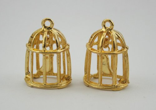 Gold Bird Charm Pendant (2 pcs.Zinc Gold Cute Bird in Gold Cage Charms Pendants Decorations Findings.)