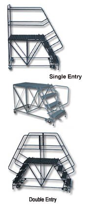 Ballymore Tough Welded Steel Double Entry Mobile Work Platform - 6 Step, 48 x 60 x 36 inch -- 1 each. (Entry Platform Double Mobile)