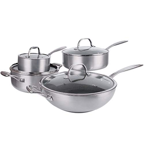 8 Pieces TEFLON Interior Nonstick Cookware Sets,Cast Stainless Steel Handle,Glass Lid, PFOA Free