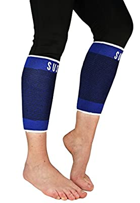 2 Elite Calf Compression Sleeves By Susama - Small / Medium - Footless Compression Stockings and Calf Support for Runners - #1 Relief for Shin Splints and Varicose Veins, Best Shin Protection Brace