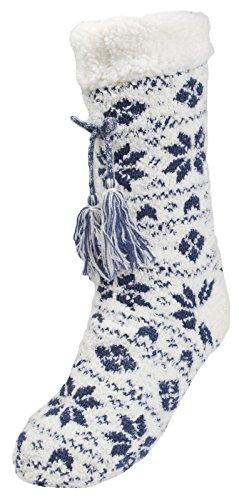 Lora Dora Taille Chaussettes anti Femme Tassel dérapantes Fairisle multicolore unique Blue multicolore SrqSwd