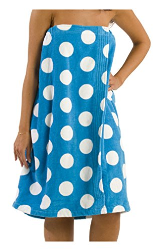 byLora Terry Cotton Shower Bath Wrap Women Towel, Cover Up Towel Beach Swimming Pool for Ladies - Aqua - Small - Medium