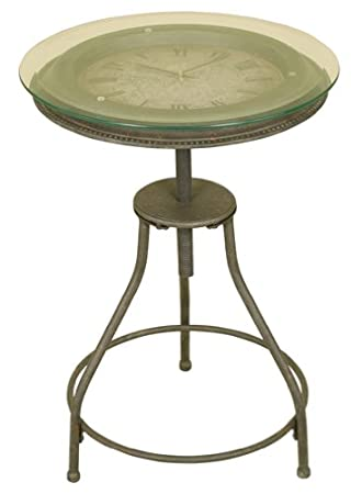 Oil Rubbed Bronze Metal Accent Table With Inlaid Clock And Glass Top