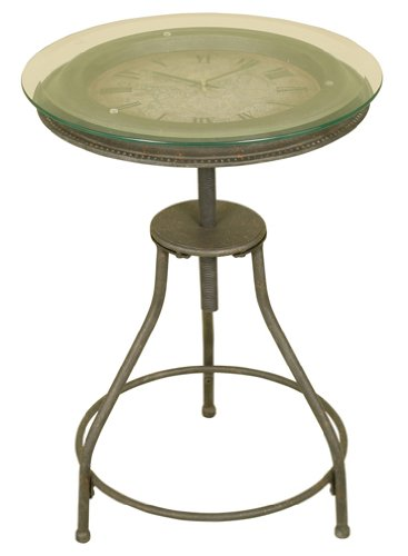 Oil Rubbed Bronze Metal Accent Table with Inlaid Clock and Glass Top - Inlaid Accent