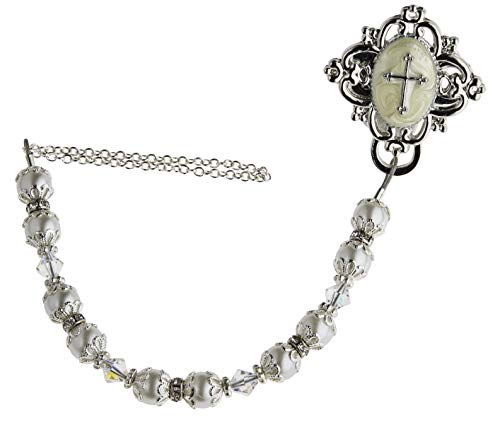 Baptism White Swarovski Simulated Pearls Clear Crystals Rhodium Plated Silver Hand Enamelled Baby Christening Gift Pacifier Clip (CCRS)