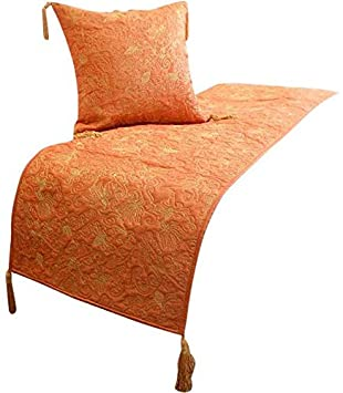 The Homecentric Orange Bed Runner With Decorative Throw Pillow Cover 18 X 90 Inches Designer King Size Bed Scarf In Silk Embroidered Quilting
