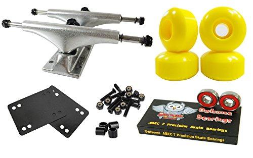 Owlsome 5.0 Polished Aluminum Skateboard Trucks w/52mm Wheels Combo Set (Yellow)