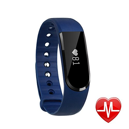 LETSCOM Smart Watch, Fitness Activity Tracker with Heart Rate Monitor Bluetooth 4.0, IP67 Waterproof Smart Pedometer Bracelet with Call/MSM Reminder, OLED Touch Screen for Android and IOS, Blue