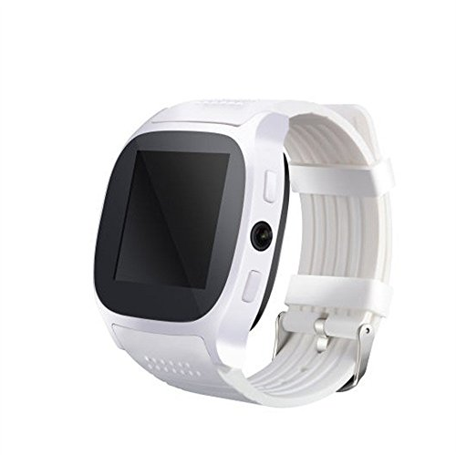 New T8 BT3.0 Smart Watch,Support SIM and TFcard Camera, Life Waterproof Smartwatch for Android for iPhone (White)