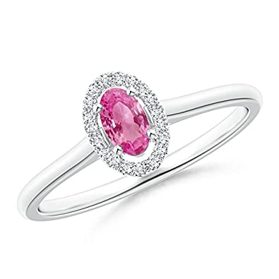 Angara Prong Set Oval Pink Sapphire Halo Ring with Diamond in 14k Yellow Gold E26VyQ