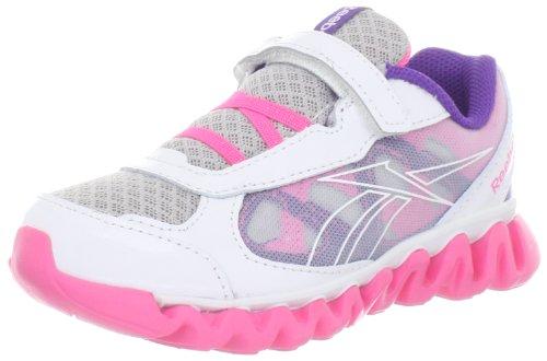 Reebok Mini Ziglite Rush Ac Running Shoe (Toddler/Little Kid/Big Kid),Steel/White/Pink Zing/Prospect Purple,4 M US Toddler (Reebok Mini)